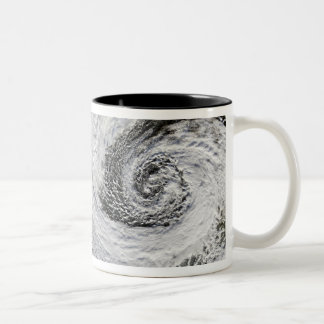 Two cyclones formed in tandem south of Iceland Two-Tone Coffee Mug