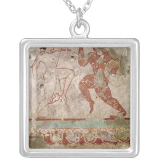 Two Dancers and Dolphins Silver Plated Necklace