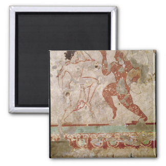 Two Dancers and Dolphins Square Magnet