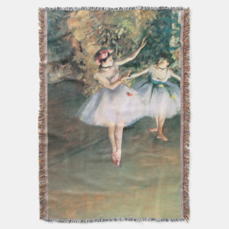 Two Dancers on a Stage by Edgar Degas, Vintage Art Throw Blanket