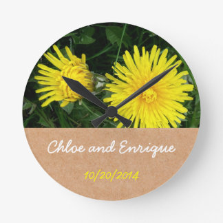Two Dandelions Custom Wedding Round Clock