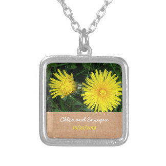 Two Dandelions Custom Wedding Silver Plated Necklace