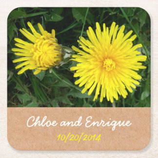 Two Dandelions Custom Wedding Square Paper Coaster