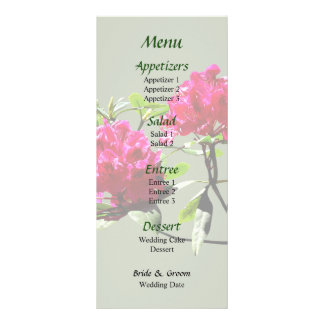 Two Dark Red Rhododendrons Wedding Menu Customized Rack Card
