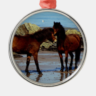 Two Dartmoor ponies on remote beach in south Devon Christmas Ornament