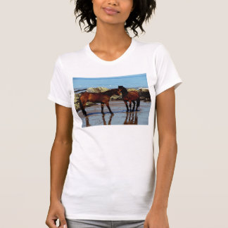 Two dartmoor ponies on remote beach in south Devon T-Shirt