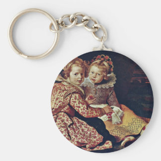 Two Daughters Of The Painter By Vos Cornelis De Basic Round Button Key Ring