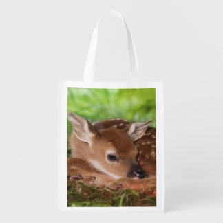 Two day old White-tailed Deer baby, Kentucky. Reusable Grocery Bag