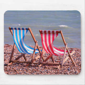 Two deckchairs on the beach mat mouse pad