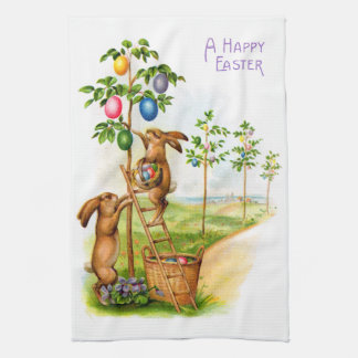 Two Decorating Rabbits Tea Towel