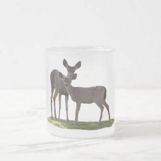 TWO DEER FROSTED GLASS COFFEE MUG