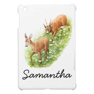Two Deer In Tall Grass Vintage Illustration Case For The iPad Mini