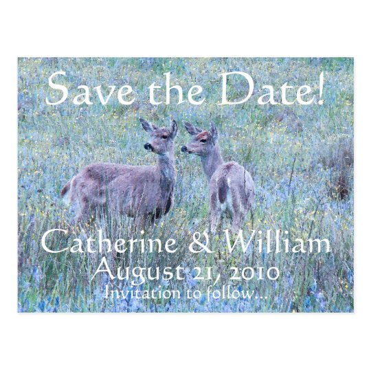 Two Deer Save the Date Postcard
