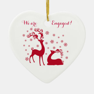 Two deers in Love Engagement Heart shape Ornament