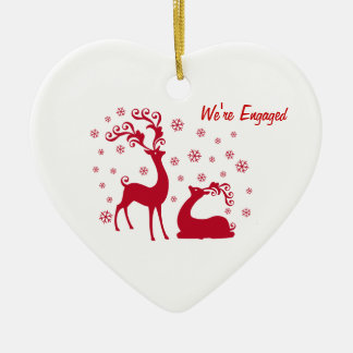 Two deers in Love Heart Engagement Christmas Ornament