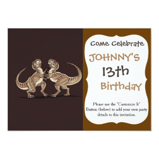 Two dinosaurs fighting each other illustration 13 cm x 18 cm invitation card