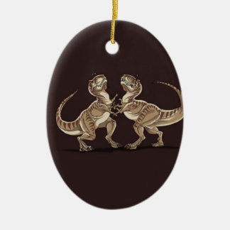 Two dinosaurs fighting each other illustration ceramic oval decoration