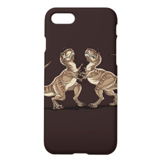 Two dinosaurs fighting each other illustration iPhone 7 case