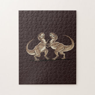Two dinosaurs fighting each other illustration jigsaw puzzle
