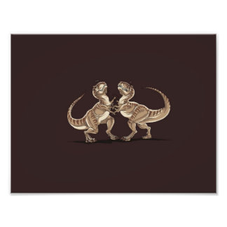 Two dinosaurs fighting each other illustration photo print
