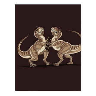 Two dinosaurs fighting each other illustration postcard
