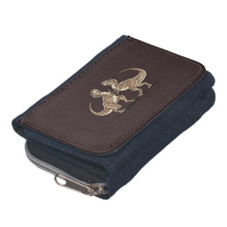 Two dinosaurs fighting each other illustration wallet