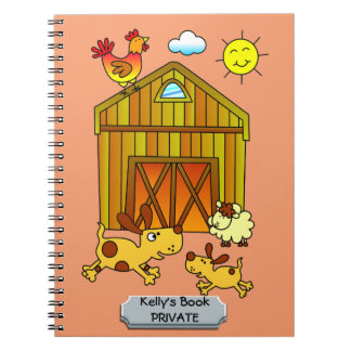 Two Dogs, Mummy and Baby, Playing Around Barn Notebook