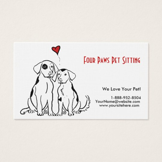 Two Dogs Pet Sitting Business Card
