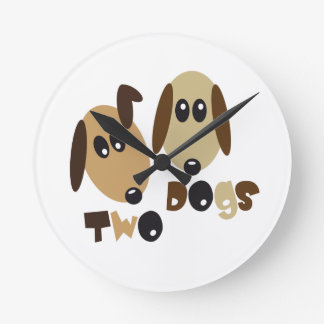 Two Dogs Round Clock