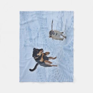 Two Dogs Running In The Snow Fleece Blanket