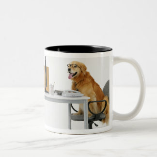 Two dogs wearing tie and glasses ,sitting on Two-Tone coffee mug