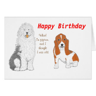 Two dogs wishing you Happy Birthday Note Card