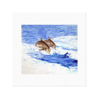 Two Dolphins in the Open Sea Canvas Print