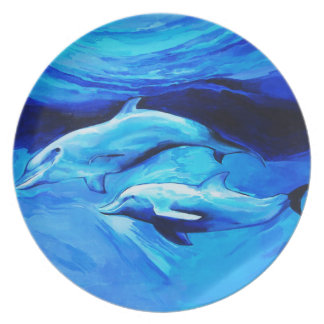 Two Dolphins- Melamine Plate (2)