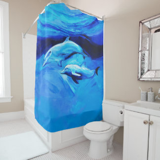 """""""Two Dolphins"""" Shower Curtain"""