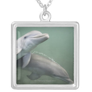 Two Dolphins underwater Silver Plated Necklace