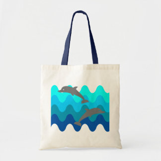 Two Dolphins With 4-Color Stylized Waves Budget Tote Bag