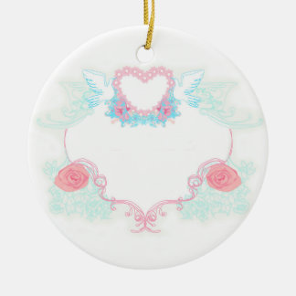Two doves holding heart Decoration Round Ceramic Decoration