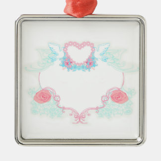 Two doves holding heart Decoration Silver-Colored Square Decoration