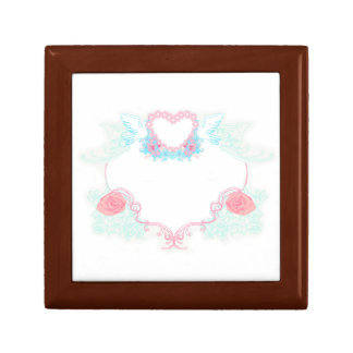 Two doves holding heart giftbox small square gift box