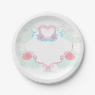 Two doves holding heart Paper Plate