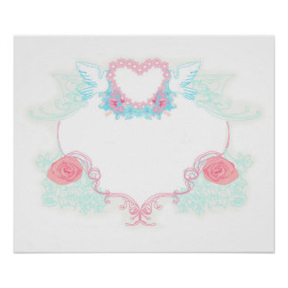 Two doves holding heart Poster
