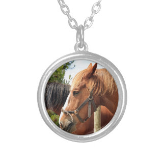Two draft horses round pendant necklace