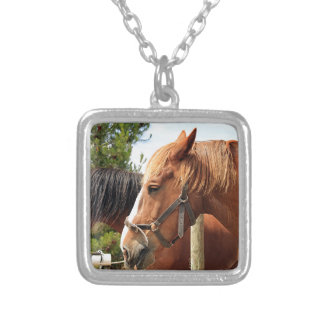 Two draft horses square pendant necklace