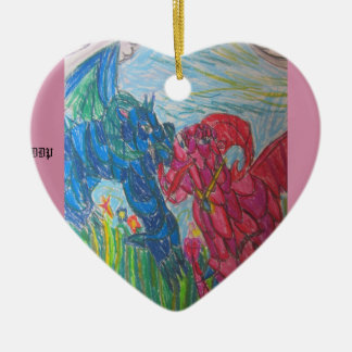 Two dragons colorful ceramic heart decoration