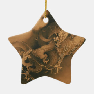 Two Dragons in Clouds Vintage Christmas Ornament