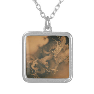Two Dragons in Clouds Vintage Silver Plated Necklace