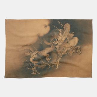 Two Dragons in Clouds Vintage Tea Towel