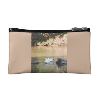 Two ducks in pond cosmetic bag
