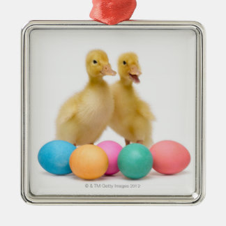 Two ducks with Easter Eggs Silver-Colored Square Decoration